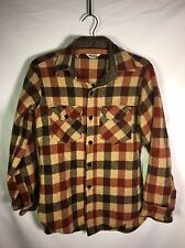 Vintage Woolrich Flannel Shirt Men's Size Small Brown Buffalo Plaid Nice!!