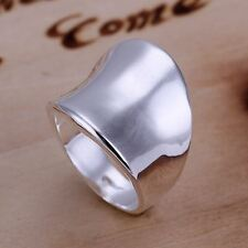 *UK* 925 SILVER PLT MENS / LADIES LARGE THUMB SHIELD STATEMENT RING CHUNKY HEAVY