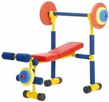 Fun and Fitness Equipment Kids Lifting Exercise Bench Weight Set Safe Gym