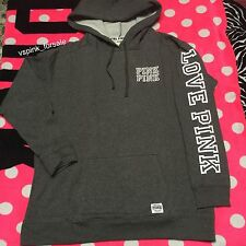 Victoria's Secret PINK L Campus Pullover Hoodie New Heather Gray White Large VS