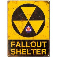 Fallout Shelter Warning Rusted Look Steel Sign Vintage Style Atomic Age 12 x 16