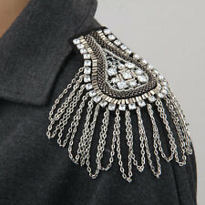Metal Rhinestone Crystal Cloth Chain Brooch Epaulet Shoulder Board Mark