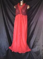 NEW CAPRICE RED WITH BLACK LACED NYLON NIGHTGOWN SIZE 34/36