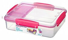 Sistema To Go Snack Attack Duo Container, 975mL - Clear/Pink