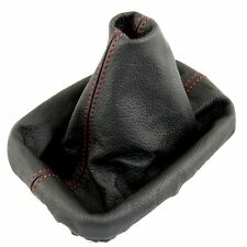 SEAT TOLEDO MK2 LEON MK1 1999-05 RED STITCH GEAR GAITER REAL BLACK LEATHER NEW