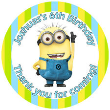 Personalised Minions 50mm Stickers Thank You Seal Tags Party Favours Kids x15 m