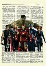 The Avengers Dictionary Art Poster Picture Hulk Iron Man Thor Captain America