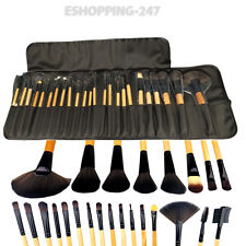 Wooden Soft Bristle Brushes Set Pouch 24x Professional Cosmetic Make Up E085
