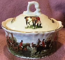 Fox Hunting Herring Hunt Porcelain Trinket Dresser Box Container With Lid