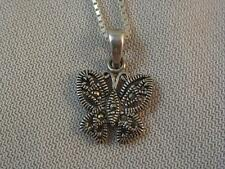 MARSALA STERLING SILVER MARCASITE FIGURAL BUTTERFLY PENDANT & CHAIN NECKLACE