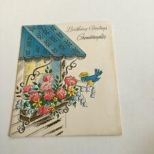 Vintage Greeting Card Birthday Blue Awning Window Flowers
