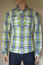 NEW Abercrombie & Fitch Palmer Brook Twill Flannel Shirt Green Plaid Shirt XXL