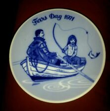"""RARE Porsgrund Norway Fars Dag 1971 First Issue Fathers Day Plate 5 1/4"""" Fishing"""