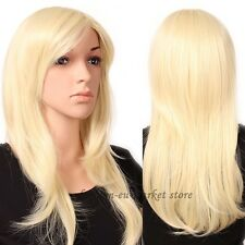Ladies 23'' Long Layered Wig Cosplay Full Wigs Cap Hair Nets Bleach Blonde Party