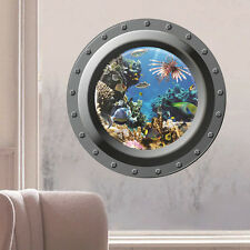 3D Counterfeit Submarine Window Underwater World Poster Kids Room Wall Stickers