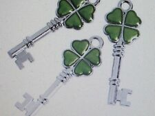 12 Silvertone SHAMROCK KEY CHARMS St Patricks Day irish jewelry charm FREE SH