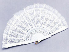 White Lace Hand Fan Wedding Party Moulin Rouge Spanish Accessory Fancy Dress