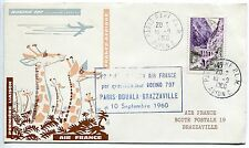 LETTRE  PREMIER VOL PARIS / DOUALA  / BRAZZAVILLE 1960 AIR FRANCE BOEING 707
