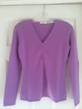 NEIMAN MARCUS CASHMERE COLLECTION Purple Long Sleeve Sweater VNeck Size S