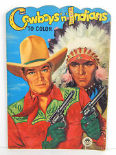 Vintage Coloring Book Cover Cowboys 'n' Indians COVER ART ONLY Great Colors