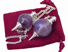 2 AMETHYST Crystal Ball Point Dowsing Pendulum with 2 Pouches