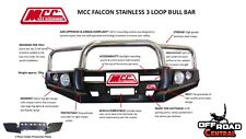 MCC 4X4 FALCON STAINLESS BULL BAR, TOYOTA 100 SERIES 2002 - 2007 IFS, ADR, 4WD