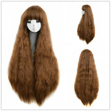 African American Brown Long Wig AFRO Kinky Curly Hair Synthetic Full Wigs
