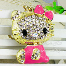 Crystal Hello Kitty Keychain Key Chain Ring Rhinestone Cat Keyring Bag Charm A