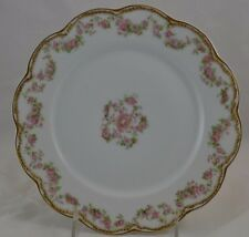 "Haviland Limoges Schleiger 270 Double Gold Pink Rose Swag Lunch Plate 8 1/2""  #5"