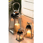 FAIR TRADE POLISHED STEEL & CLEAR GLASS LANTERN 3 SIZES INDOOR OUTSIDE TEA LiGHT