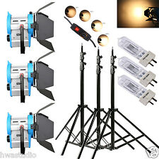 3 x 650W dimmer MOVIE Fresnel Tungsten Spotlight Illuminazione Studio Video Barndoor