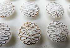 """White and Gold Vintage """"New Mode"""" Glass Buttons - 1.4cm - 24 on Original Card"""