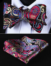 BP706M Red Blue Paisley Men Silk Classic Self Bow Tie Pocket Square set