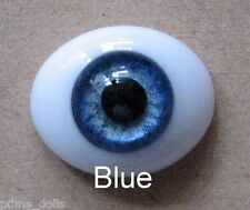Solid Glass, Flatback Oval Paperweight Eyes - Blue, 24mm
