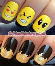 NAIL ART SET #91. FUNNY EMOJI FACES WATER TRANSFERS/DECALS/STICKERS & GOLD LEAF