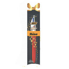 ★1 PENNA A SFERA BIC 4 COLORI SHINE CHRISTMAS RED MULTICOLORE PUNTA 1 MM★