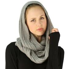 Winter Soft Chunky Pullover Knit Long Loop Infinity Ski Hood Cowl Scarf Gray