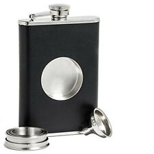 Ipc Stainless Steel  Wine Flask With Collapsible SHOT GLASS Wraped with  Leather