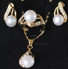 Genuine White Akoya Cultured Pearl ring earrings Necklace Pendant Set AAA