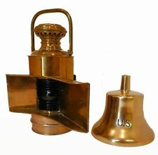 ANTIQUE PERKO POLISHED BRASS LARGE NAVY NAVIGATION LIGHTS