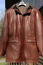 Men's hooded brick red leather parka, removable winter lining, size 40/42 US (L)