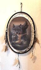 Traumfänger Dreamcatcher - mit Foto - oval ca. 55 cm groß - Indianer mit Wölfen