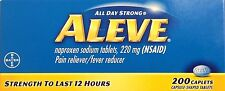 ALEVE NAPROXEN SODIUM 220 mg (NSAID) 200 CAPLETS PAIN RELIEVER EXP 12/2017 +