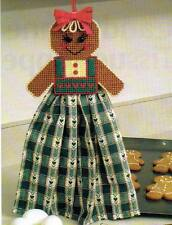 GINGERBREAD GIRL TOWEL TOPPER CHRISTMAS PLASTIC CANVAS PATTERN INSTRUCTIONS
