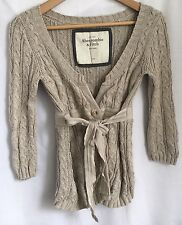 Abercrombie & Fitch Beige Knitted Cardigan,Empire Line Tie Belt,size S,cotton,GC
