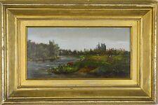 19th century English School. Excelente Óleo sobre lienzo de ganado riego por un río.