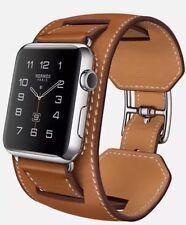 Apple Watch Cuff Bracelet Strap For iWatch 38mm Fauve Barenia Brown Hermès Style