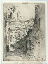 1912 SIENA VIA DEL SOLE acquaforte Maurice Achener