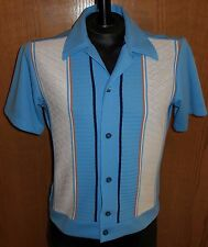 Vtg 70s Sears Sportswear Polyester Blue Shirt Disco Mod Hipster Size M Medium