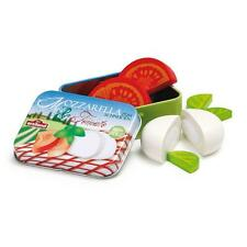 Wooden mozzarella and tomato in a tin by Erzi pretend play shop toy food kitchen